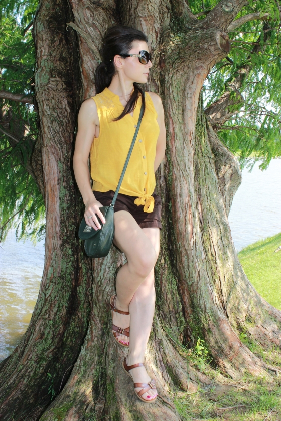 mustard shirt and brown shorts 5