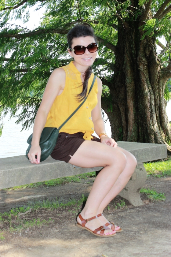 mustard shirt and brown shorts1