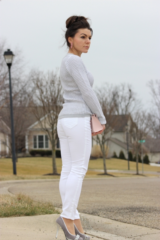 Grey sweater and white jeans