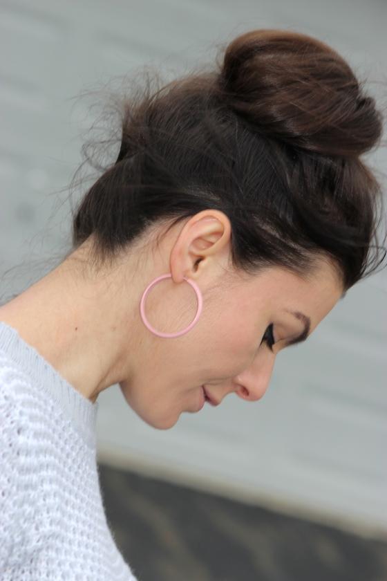 Pink hoop earrings