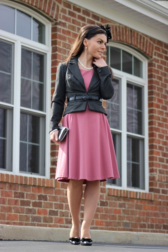 Dusty pink dress outfit