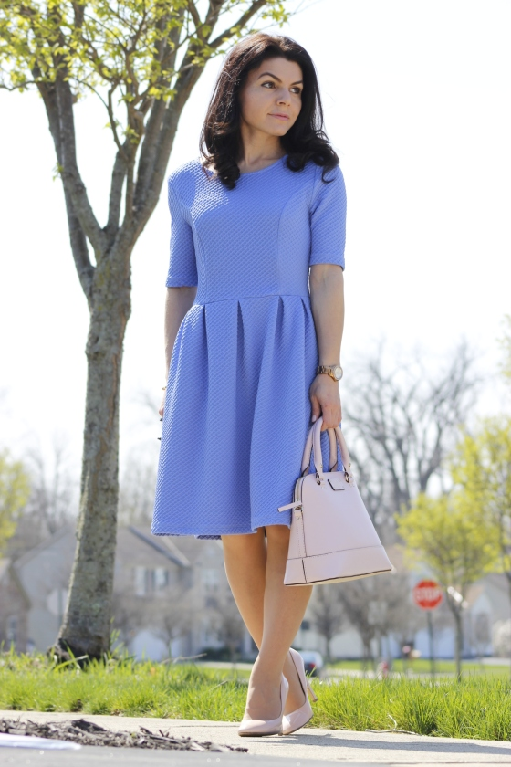 Romantic Pastels – Blue Dress and Blush Bag